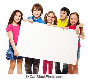 kids showing blank placard
