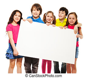 kids showing blank placard - Happy smiling group of kids,...