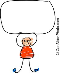 kids sign - kiddie style drawing of a toddler holding up a...