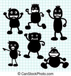 Kids silhouette hand writing cartoon .Illustration