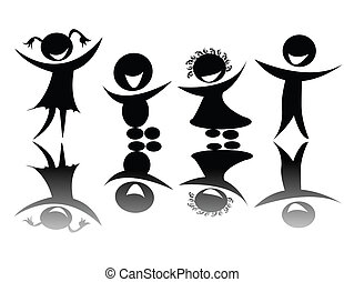 Kids silhouette in black and white