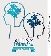 kids silhouette inside puzzles to autism day vector...