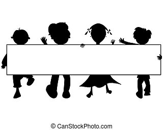 kids silhouettes banner against white background, abstract ...