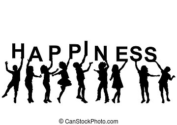 Kids silhouettes holding letters with word HAPPINESS
