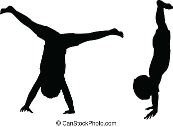 Kids Silhouettes isolated on white. - EPS 10 Vector. Kids...