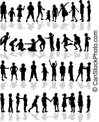 Kids silhouettes - set of drawings of children  silhouette