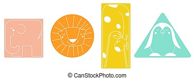 Kids Simple geometric shapes with animals Elephant, lion, giraffe, penguin in rectangle, circle, rectangle, triangle