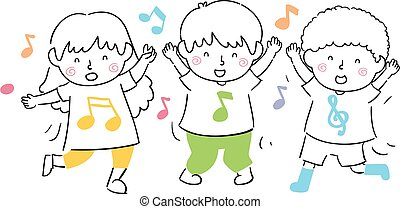 Illustration Of Kids Dancing Along To Music
