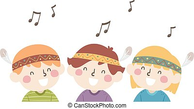 Illustration of Kids Wearing Native America Head Wear Singing for Native American Heritage Month