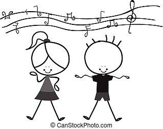 Kids Singing - black and white