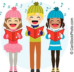 Kids Singing Christmas Carols - Flat color style...