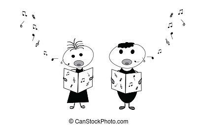 Kids singing  - Little boy and girl singing a song