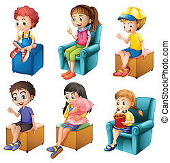 Kids sitting - Illustration of the kids sitting on a white...