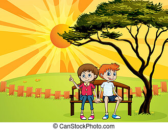 Kids sitting on a bench
