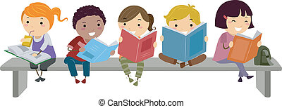 Kids Sitting on Bench while Reading - Illustration of Kids...