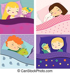 Kids sleeping with toys. Cartoon children in bed having sweet dreams. Boys and girls Baby bedtime