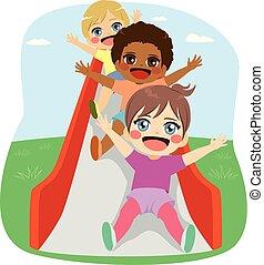 Kids Slide Playground - Cute little friends kids having fun...