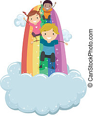Kids Sliding on a Rainbow Slide