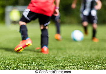 Kids soccer blur - Picture of kids soccer training match...