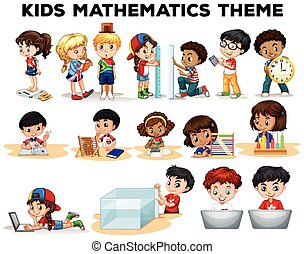 Kids solving math problems illustration