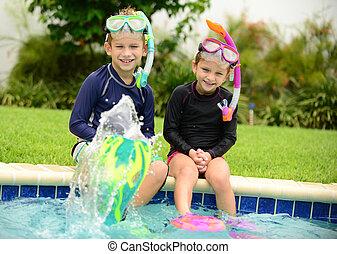 kids splashing in pool