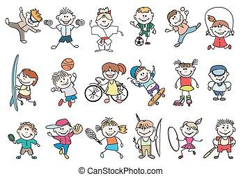 Kids sport activity vector - Kids sport activity. Basketball...