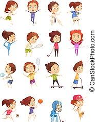Kids Sport Decorative Icons Set