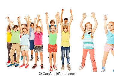 Kids stand together boys and girls rise hands
