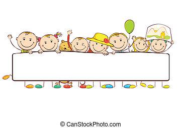 Kids standing behind Banner - illustration of kids standing...
