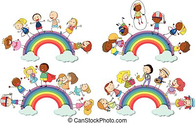 Kids standing on rainbow