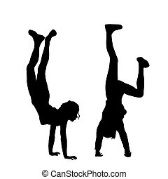 Kids standing upside down on their hands