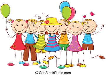 illustration of happy kids standing with balloon