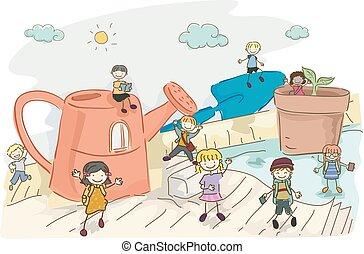 kids, stickman, иллюстрация, исследовать, садоводство, инструменты