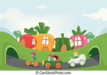 kids, stickman, сад, поездка, fruits, овощной