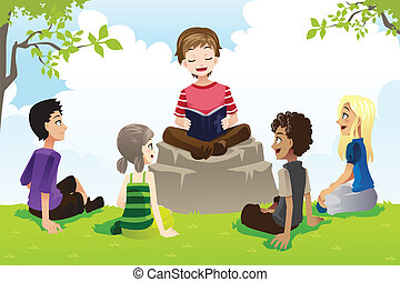 A vector illustration of a group of kids studying bible