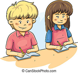 cartoon illustration of kids studying