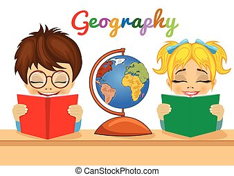 kids studying geography together reading books with explorer globe