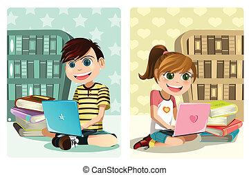 Kids studying using laptop