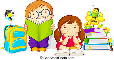 vector illustration of kids studying book with bee
