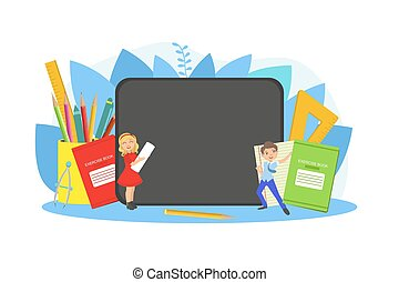 Kids Studying with Huge School Supplies, Schoolchildren at Lesson, Back to School Concept Vector Illustration