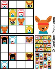 Kids sudoku puzzle with cartoon animal heads