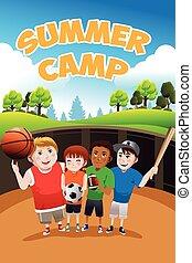 Kids summer camp flyer - A vector illustration of kids...
