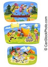 Kids summer camping vector concept illustration