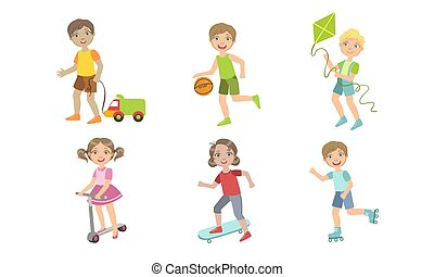 Kids Summer Outdoor Activities Set, Cute Boys and Girls Doing Sports, and Playing Vector Illustration