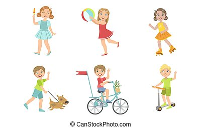 Kids Summer Outdoor Activities Set, Cute Boys and Girls Walking with Dog, Eating Popsicle, Doing Sports, Playing Ball Vector Illustration