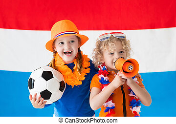 Kids supporting Netherlands football team - Children...