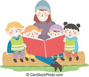 Kids Sweden Teacher Nature Class Book Illustration