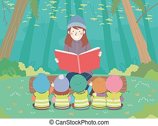 Illustration of a Teaching Reading a Book to Kids Sitting Down Outdoors