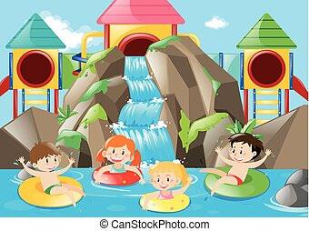 Kids swimming in the pool with waterfall