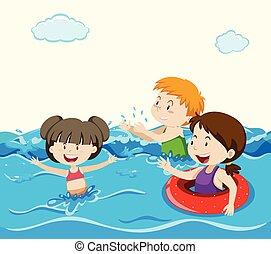 Kids Swimming in the Sea